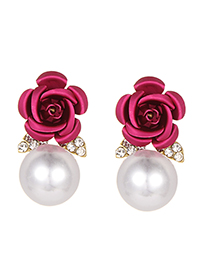 Fashion Plu Pearls&flower Decorated Earrings