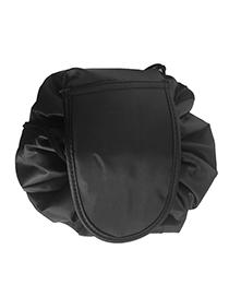 Fashion Black Pure Color Decorated Storage Bag