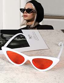 Fashion White+red Cat Eye Shape Decorated Sunglasses
