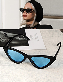 Fashion Blue Cat Eye Shape Decorated Sunglasses