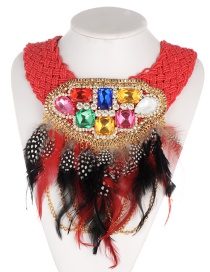 Fashion Red Feather Decorated Necklace
