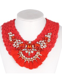 Fashion Red Tassel Decorated Necklace