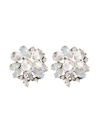 Fashion White Oval Shape Diamond Decorated Pure Color Earrings