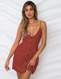 Sexy Dark Red V Neckline Design Pure Color Suspender Dress