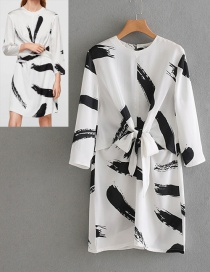 Fashion White+black Feather Pattern Decorated Long Sleeves Dress