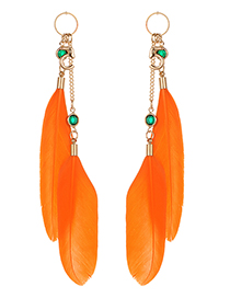 Fashion Orange Feather&letter Decorated Long Earrings