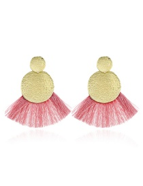 Elegant Red Round Shape Design Tassel Earrings