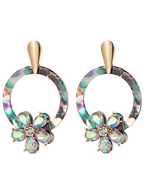 Fashion Green Flowers Decorated Round Shape Earings