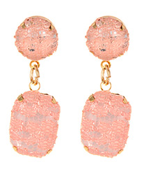 Fashion Pink Lace Decorated Square Shape Earrings
