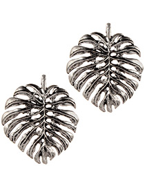 Fashion Silver Color Leaf Shape Design Hollow Out Earrings