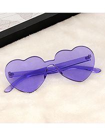 Fashion Purple Heart Shape Design Pure Color Glasses