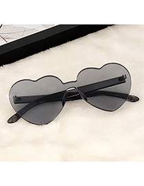 Fashion Gray Heart Shape Design Pure Color Glasses