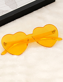 Fashion Yellow Heart Shape Design Pure Color Glasses