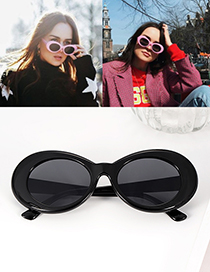 Fashion Black Oval Shape Decorated Simple Glasses