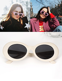 Fashion Light Yellow Oval Shape Decorated Simple Glasses