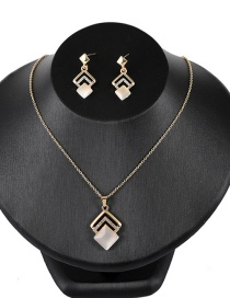 Fashion Yellow Hollow Out Square Shape Design Jewelry Sets