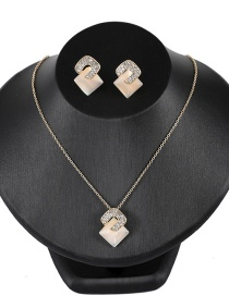 Fashion Yellow Square Shape Diamond Decorated Jewelry Sets