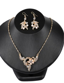 Fashion Yellow Pearls&diamond Decorated Jewelry Sets