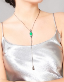 Fashion Green Water Drop Shape Pendant Decorated Long Necklace
