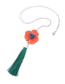 Fashion Red Flower&tassel Decorated Long Necklace