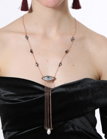 Fashion Gold Color Eye Shape Decorated Tassel Necklace