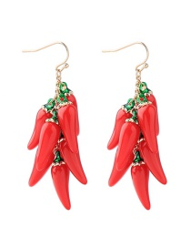Fashion Red Pepper Shape Design Pure Color Earrings