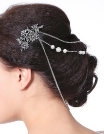 Fashion Silver Color Flowers&pearls Decorated Hair Comb