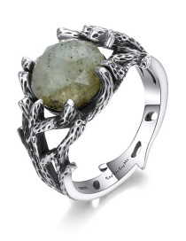 Fashion Silver Color Gemstone Decorated Hollow Out Ring