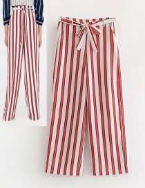 Fashion White+red Stripe Pattern Decorated Long Pants