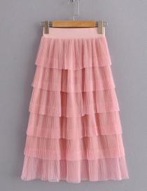 Fashion Pink Pure Color Design Multi-layer Skirt