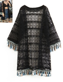 Fashion Black Tassel Decorated Hollow Out Sun-protective Smock