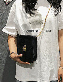 Fashion Black Pure Color Design Shoulder Bag