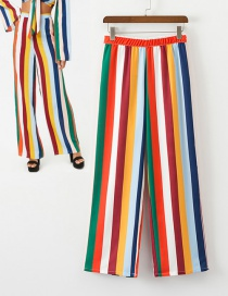 Fashion Multi-color Stripe Pattern Decorated Wide-legs Pants