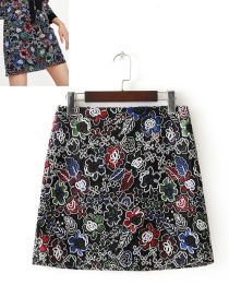 Fashion Multi-color Embroidery Flower Decorated Simple Skirt