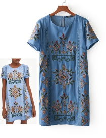 Fashion Blue Embroidery Flower Decorated Round Neckline Dress Reviews