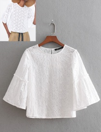 Fashion White Pure Color Design Hollow Out Blouse
