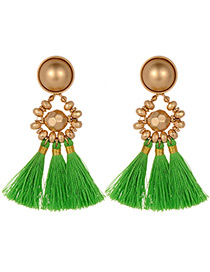 Fashion Green Beads Decorated Tassel Earrings