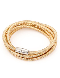Fashion Gold Color Pure Color Design Multi-layer Bracelet