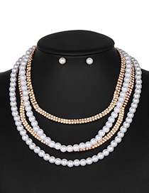 Fashion Gold Color Pearls&diamond Decorated Jewelry Sets