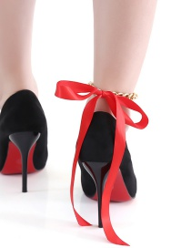 Exaggerated Red Chains Decorated Bowknot Design Anklet