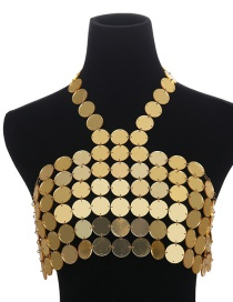 Fashion Gold Color Round Shape Design Pure Color Chest Chain