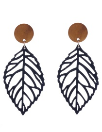 Fashion Black Leaf Shape Design Hollow Out Earrings