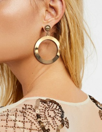 Fashion Gold Color Round Shape Design Pure Color Earrings