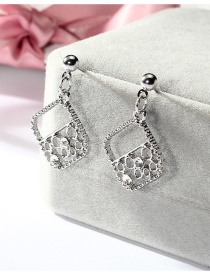 Fashion Silver Color Square Shape Design Hollow Out Earrings