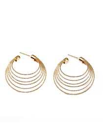 Fashion Gold Color Pure Color Design Multi-layer Earrings