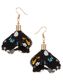 Fashion Black Flowers Pendant Decorated Earrings