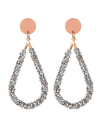 Fashion Pink Full Diamond Decorated Hollow Out Earrings