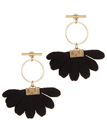 Fashion Black Flowers Decorated Circular Ring Earrings