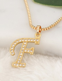 Fashion Gold Color Letter F Pendant Decorated Necklace