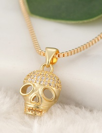 Fashion Gold Color Skull Pendant Decorated Necklace